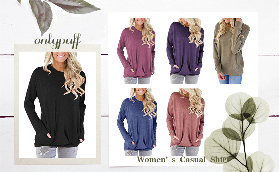 Women Casual Loose Fit Tunic Top Baggy Comfy Blouse