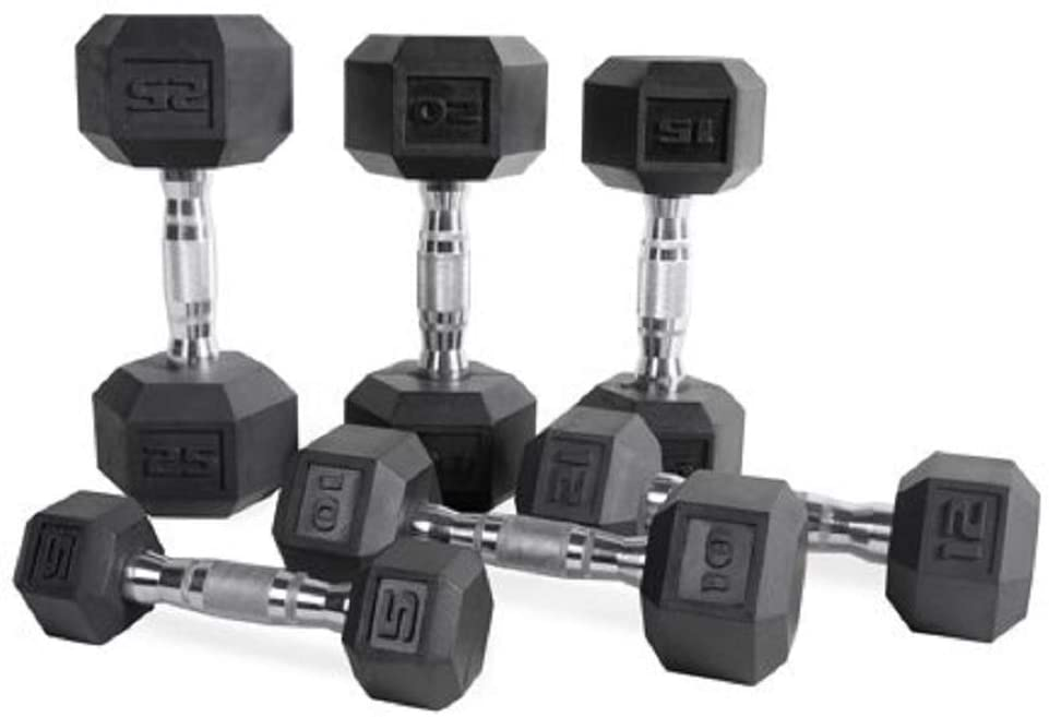 CAP-Barbell-Set-of-2-Hex-Rubber-Dumbbell-with-Metal-Handles